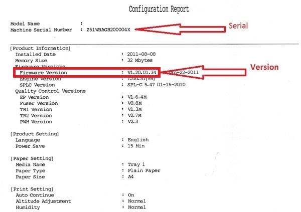 Find serial, version, crum, printer's name